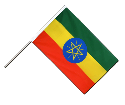 Hand Waving Flag ECO Ethiopia with star - 2x3 ft