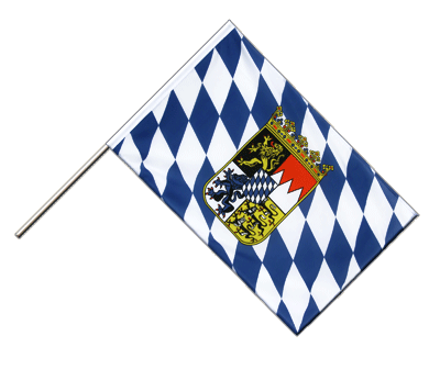 Hand Waving Flag ECO Bavaria with crest - 2x3 ft
