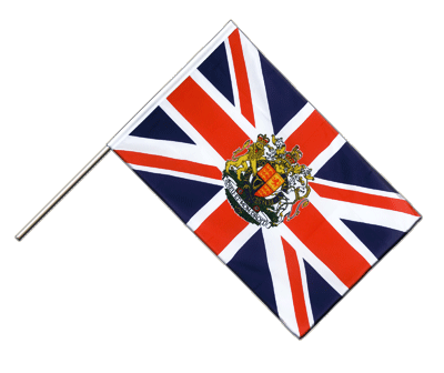 Hand Waving Flag ECO Great Britain with crest - 2x3 ft