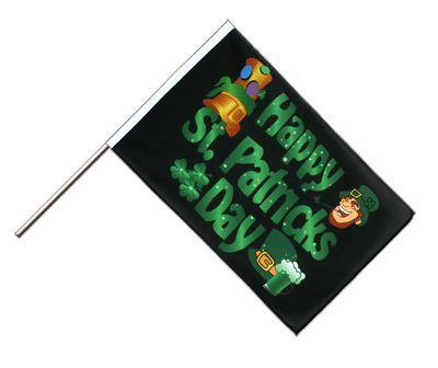 Hand Waving Flag ECO Happy Saint Patrick's Day St Patrick's Black - 2x3 ft