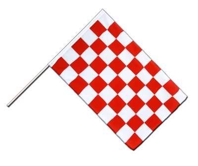Hand Waving Flag ECO Checkered Red-White - 2x3 ft