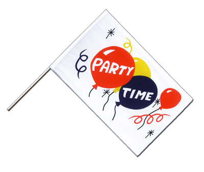 Hand Waving Flag ECO Party Time - 2x3 ft