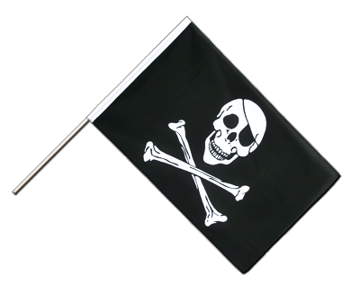 Hand Waving Flag ECO Pirate Skull and Bones - 2x3 ft