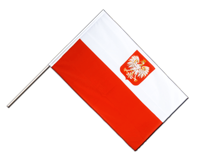 Hand Waving Flag ECO Poland with eagle - 2x3 ft