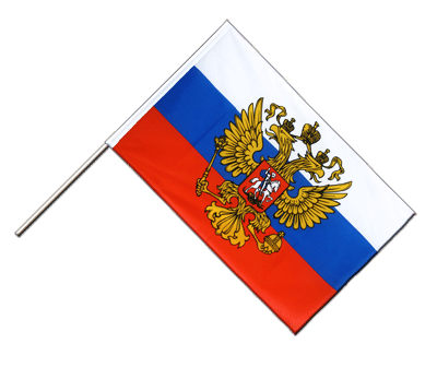 Hand Waving Flag ECO Russia with crest - 2x3 ft