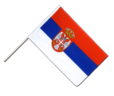Hand Waving Flag ECO Serbia with crest - 2x3 ft