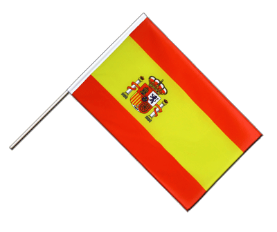 Hand Waving Flag ECO Spain with crest - 2x3 ft