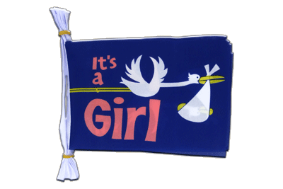 "Mini Flag Bunting It's a girl - 6x9"", 3 m"