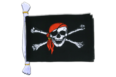 Mini Guirlande fanion Pirate avec foulard - 15 x 22 cm, 3 m