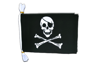 "Mini Flag Bunting Pirate Skull and Bones - 6x9"", 3 m"