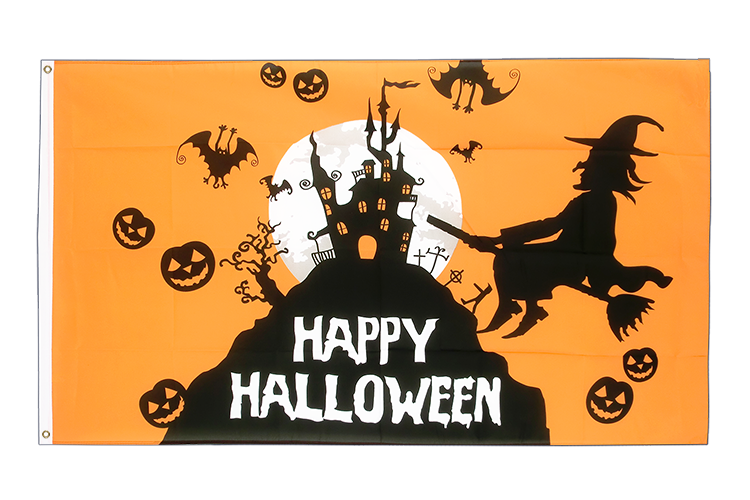 Cheap Flag Happy Halloween orange - 2x3 ft