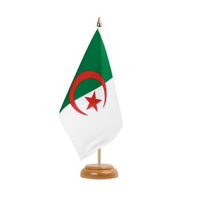 "Algeria Table Flag - 6x9"" (15 x 22 cm), wooden"