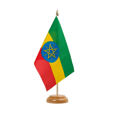 "Desk and Table Flag Ethiopia with star - 6x9"" (15 x 22 cm), wooden"