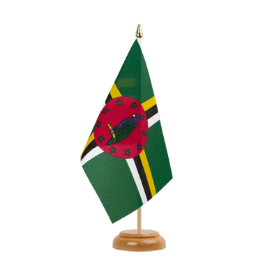 "Table Flag Dominica - 6x9"" (15 x 22 cm), wooden"