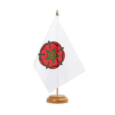 "Lancashire red rose Table Flag - 6x9"" (15 x 22 cm), wooden"