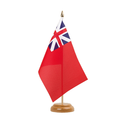 "United Kingdom Red Ensign 1707-1801 Table Flag - 6x9"" (15 x 22 cm), wooden"