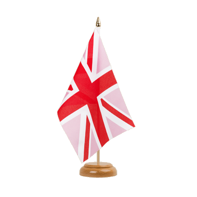 Drapeau de table Union Jack rose 15x22 cm, bois