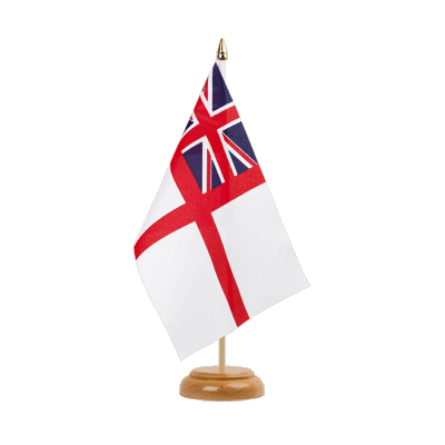 Drapeau de table Royaume-Uni Naval Ensign of the White Squadron 15x22 cm, bois