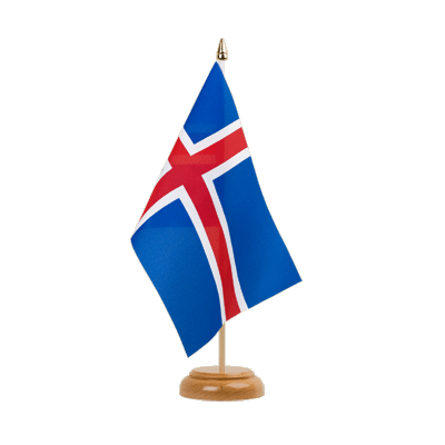 "Desk and Table Flag Iceland - 6x9"" (15 x 22 cm), wooden"