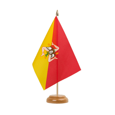 "Desk and Table Flag Italy Sicily - 6x9"" (15 x 22 cm), wooden"