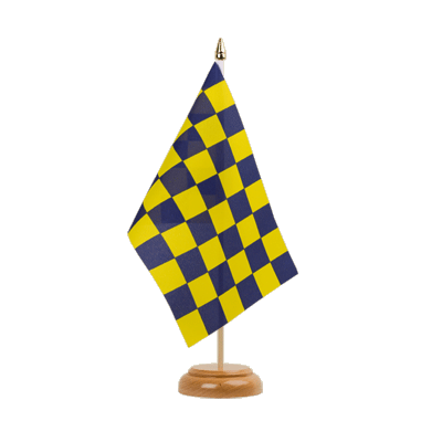 "Desk and Table Flag Checkered Blue-Yellow - 6x9"" (15 x 22 cm), wooden"