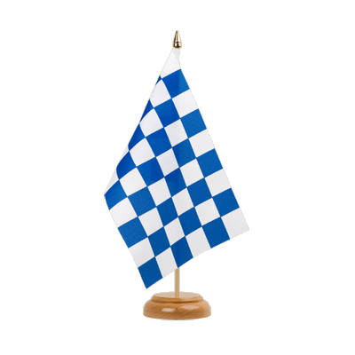"Table Flag Checkered blue-white - 6x9"" (15 x 22 cm), wooden"