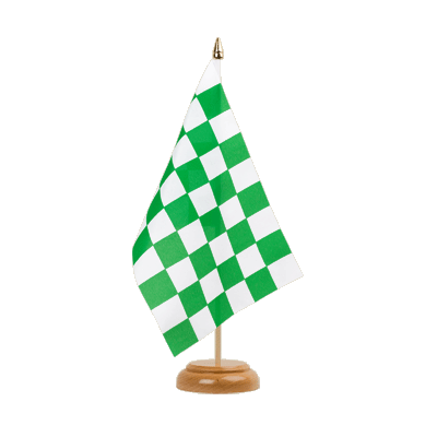 "Table Flag Checkered Green-White - 6x9"" (15 x 22 cm), wooden"