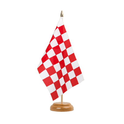 "Table Flag Checkered Red-White - 6x9"" (15 x 22 cm), wooden"