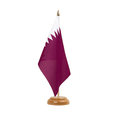 "Table Flag Qatar - 6x9"" (15 x 22 cm), wooden"