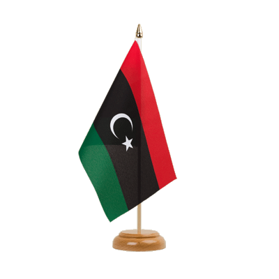 "Table Flag Kingdom of Libya 1951-1969 Opposition Flag Anti-Gaddafi Forces - 6x9"" (15 x 22 cm), wooden"