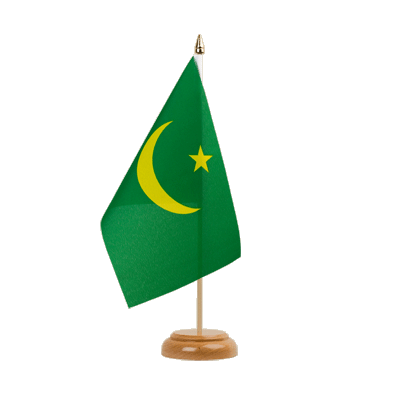 "Mauritania Table Flag 6x9"", wooden"