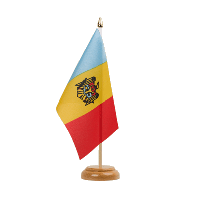 "Desk and Table Flag Moldova - 6x9"" (15 x 22 cm), wooden"