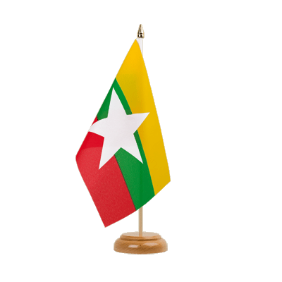 "Table Flag Myanmar new - 6x9"" (15 x 22 cm), wooden"