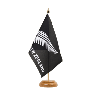 "Table Flag New Zealand feather all blacks - 6x9"" (15 x 22 cm), wooden"