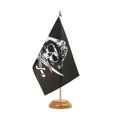 "Desk and Table Flag Pirate with bloody sabre - 6x9"" (15 x 22 cm), wooden"