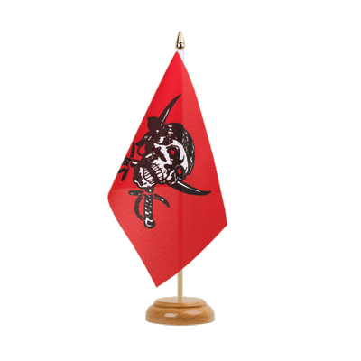 "Table Flag Pirate on red shawl - 6x9"" (15 x 22 cm), wooden"