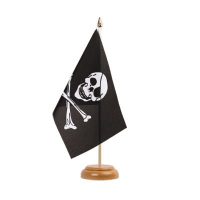 "Table Flag Pirate Skull and Bones - 6x9"" (15 x 22 cm), wooden"