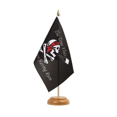 Drapeau de table Pirate Rhum 15x22 cm, bois