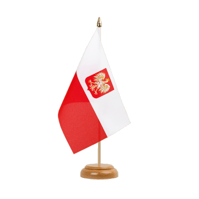 "Table Flag Poland with eagle - 6x9"" (15 x 22 cm), wooden"