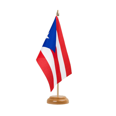"Puerto Rico Table Flag - 6x9"" (15 x 22 cm), wooden"