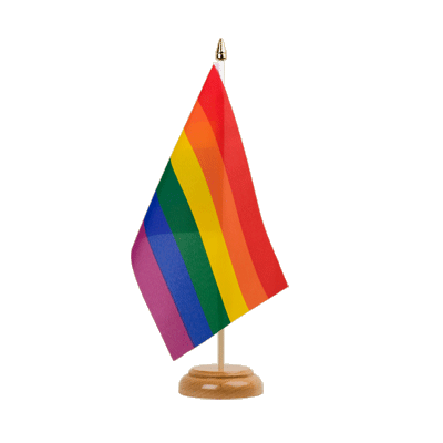 "Table Flag Rainbow - 6x9"" (15 x 22 cm), wooden"