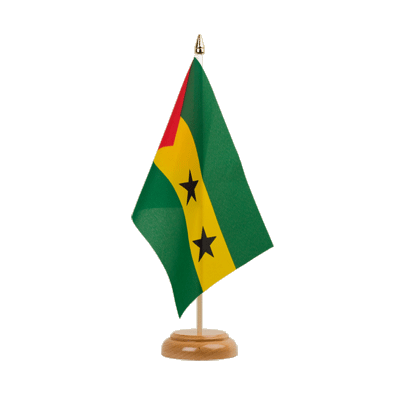 "Table Flag Sao Tome and Principe - 6x9"" (15 x 22 cm), wooden"