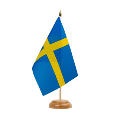"Sweden Table Flag - 6x9"" (15 x 22 cm), wooden"