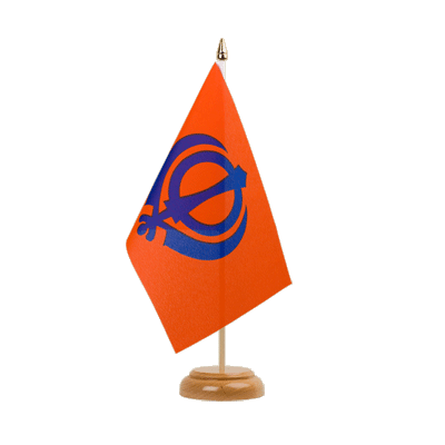 "Table Flag Sikhism - 6x9"" (15 x 22 cm), wooden"