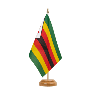 "Zimbabwe Table Flag 6x9"", wooden"