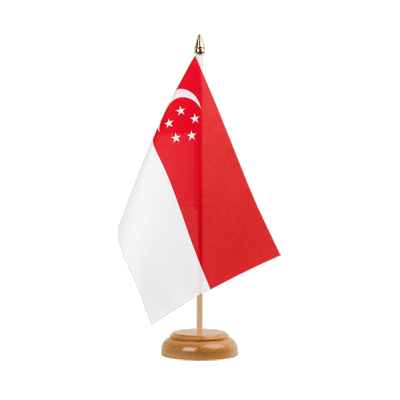 "Table Flag Singapore - 6x9"" (15 x 22 cm), wooden"