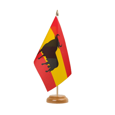 "Spain with bull Table Flag 6x9"", wooden"