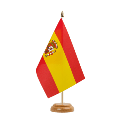 "Table Flag Spain with crest - 6x9"" (15 x 22 cm), wooden"