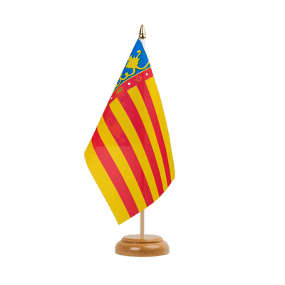 "Table Flag Valencia - 6x9"" (15 x 22 cm), wooden"