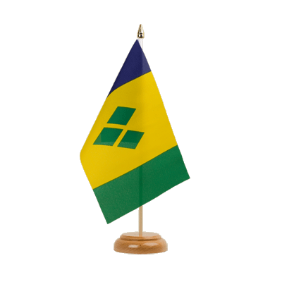 "Desk and Table Flag Saint Vincent and the Grenadines - 6x9"" (15 x 22 cm), wooden"